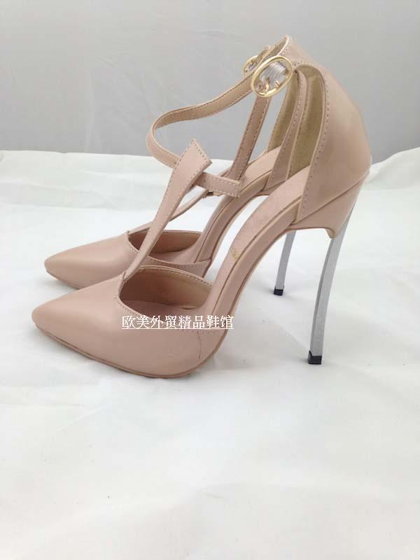 Cool 2019 Fine 10cm Metal Pattern Fasciola Full Genuine Leather T Shoe Night Club Women's Shoes