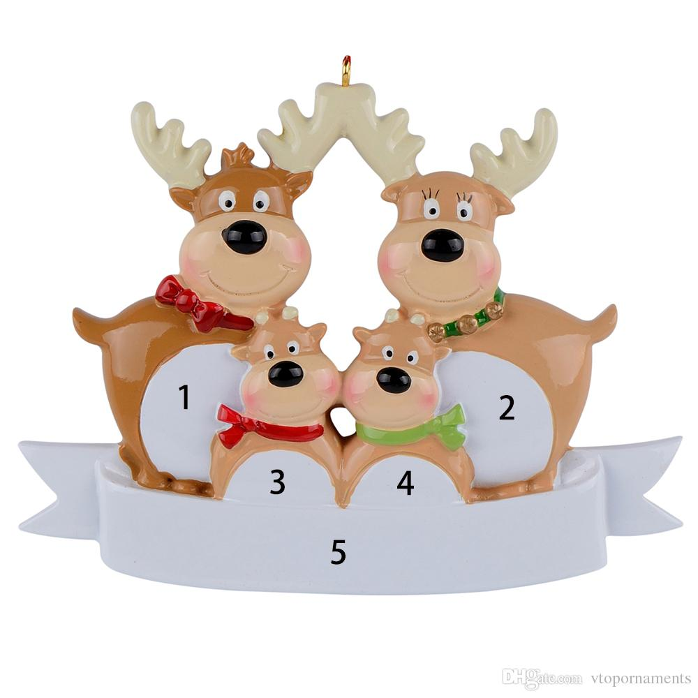 New Reindeer Family of 3 Ornament Personalised Christmas Bauble Decoration