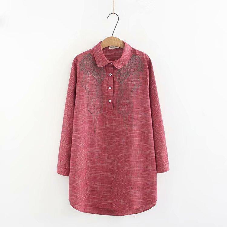Plus la taille Bordüren Bloem Vrouwen katoenen blouse 2019 Lente NIEUWE occasionnels dames chemises Vrouwelijke chemise Losse