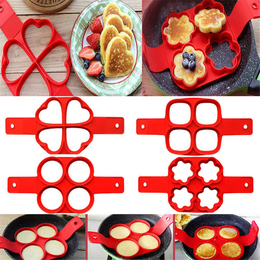 Pancake Mold Maker Fried Non-Stick Egg Mold Reusable Silicone Pancake 7 Cavity Egg Ring 4 Pack and Silicone Brush (Heart Round Star flower)