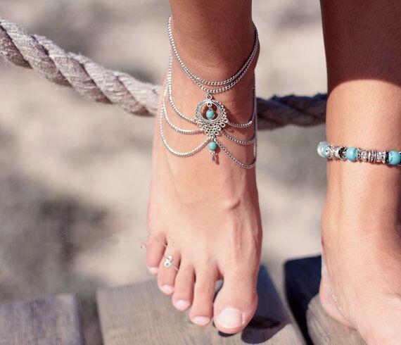 Turquesa de la manera para el tobillo de las borlas del Barefoot tobillos mujeres de las sandalias de las muchachas con estilo de la cadena para el tobillo pulsera del pie de la sandalia de playa Accesorios de DHL