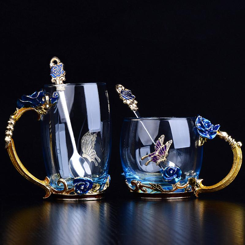 2020 Red Blue Rose Enamel Crystal Tea Cup Coffee Mug Butterfly Rose Painted Flower Water Cups Clear Glass with Spoon Set Perfect Gift
