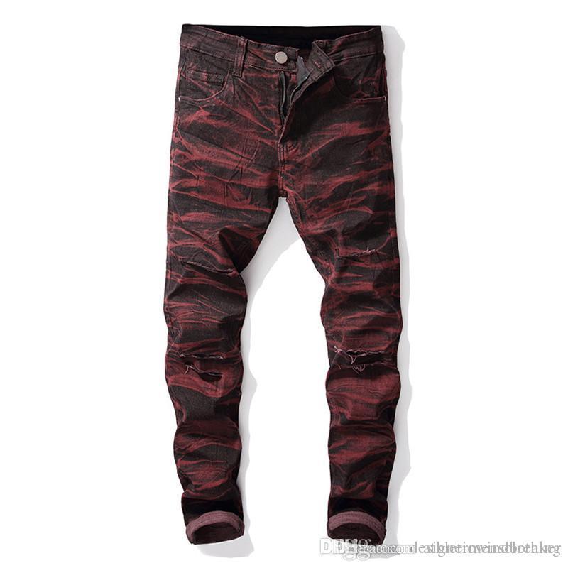 Straight Designer Men Jeans Holes Stretch Tie Dye Long Mens Jeans Mid Waist Regular Distrressed Male Clothing