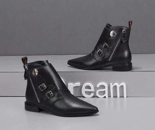 Hot Sale-New 7colors Louise Womens Fashion short booties Ankle Pointed Toes Cool Ladies Low Heels Shoes Boots Size 35-41