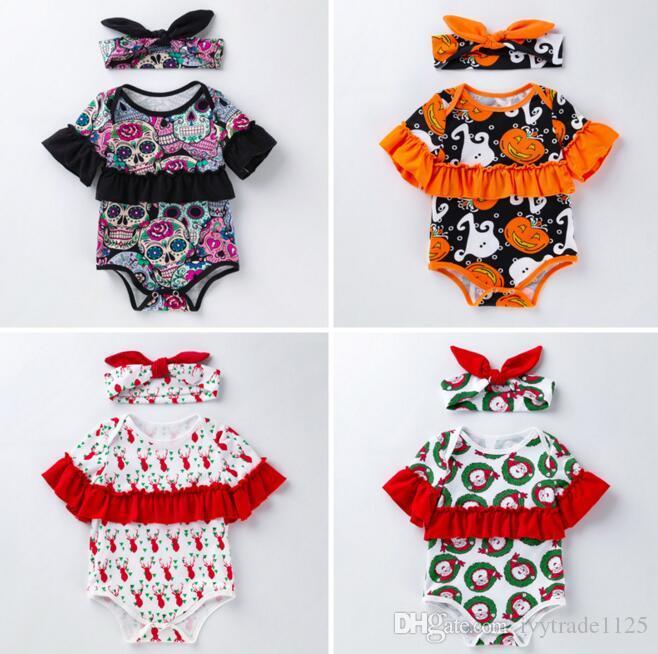 طفلة ملابس رومبير عقال س الرقبة قصيرة الأكمام اليقطين الغزلان رومبير العصابة 100 ٪ القطن الرضع هالوين عيد الميلاد ملابس رومبير