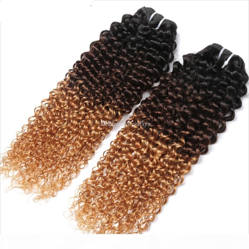 Brasilianische menschliche Jungfrau-Haar-einschlag Ombre 1b 4 27 Brown Blonde Versaute Curly Weaves Doppel Gezeichnet 100g Ein Bundle