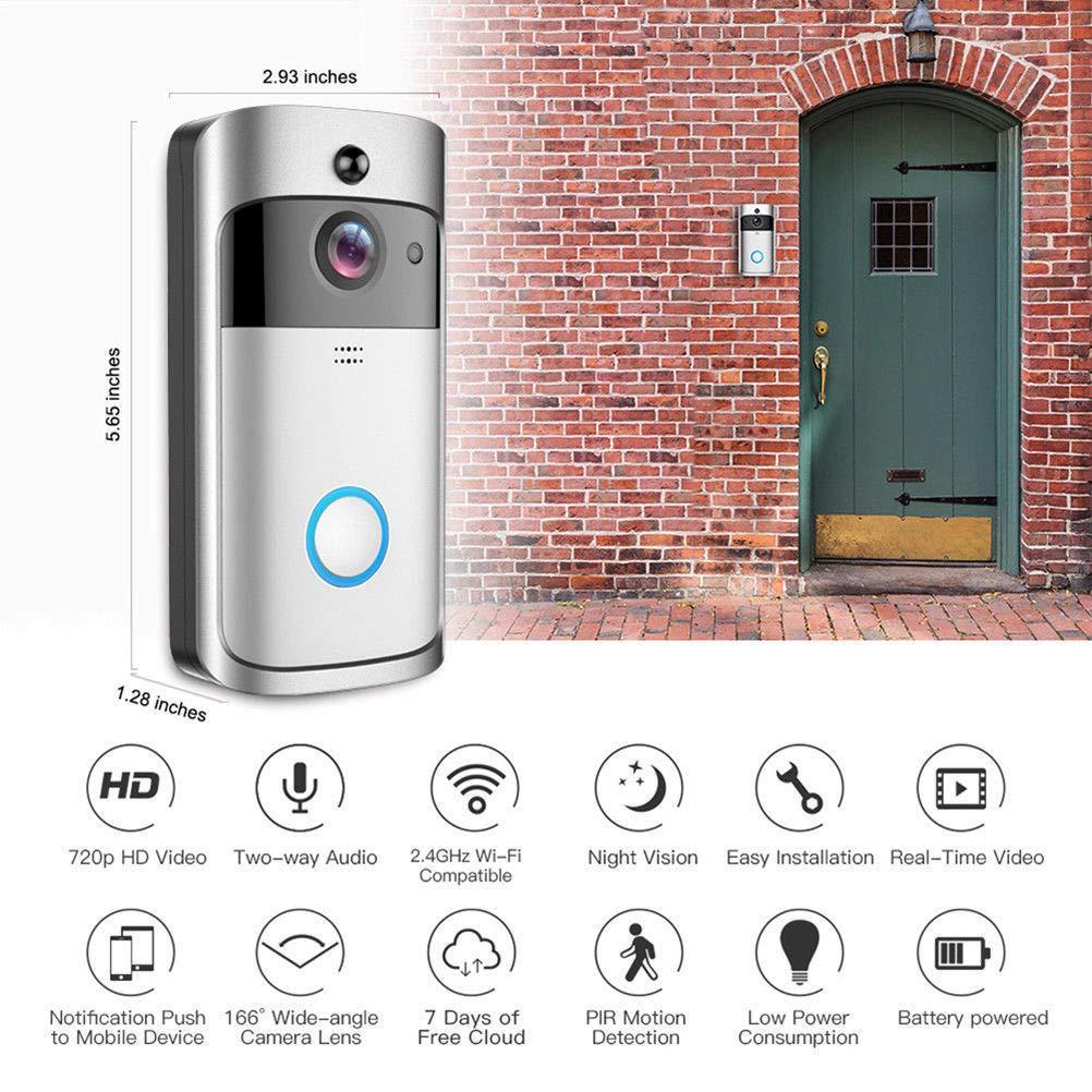 Kostenloser Versand Smart Wi-Fi Video Klingel-Kamera Visuelle Intercom mit Chime Nachtsicht, IP-Türklingel Wireless Home Security Camera