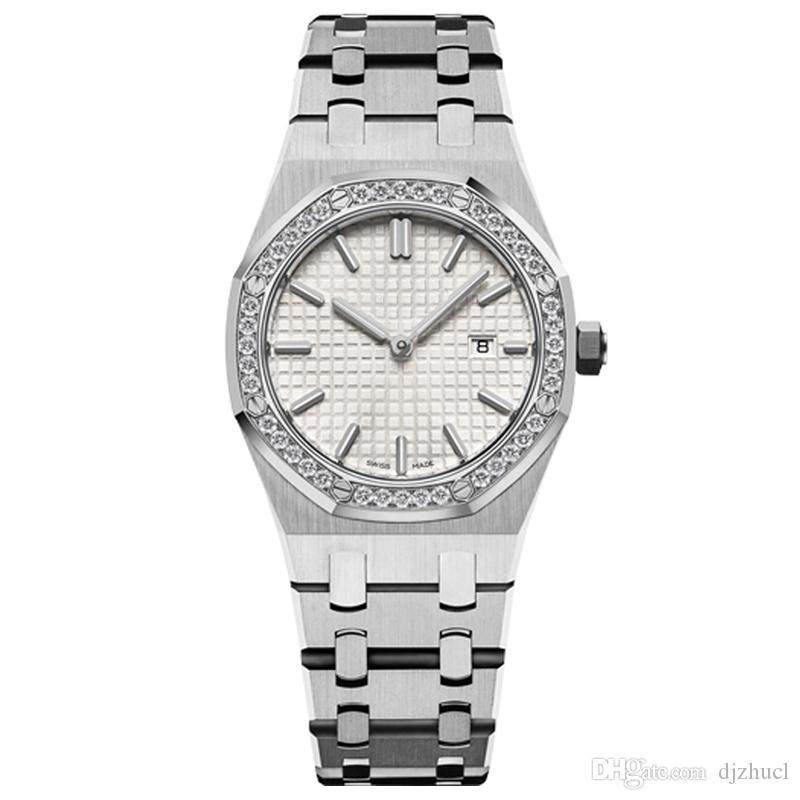 Yeni kadın saatler 33mm tam paslanmaz çelik kayış altın saat aydınlık en kaliteli kol saati safir 5ATM su geçirmez saatler