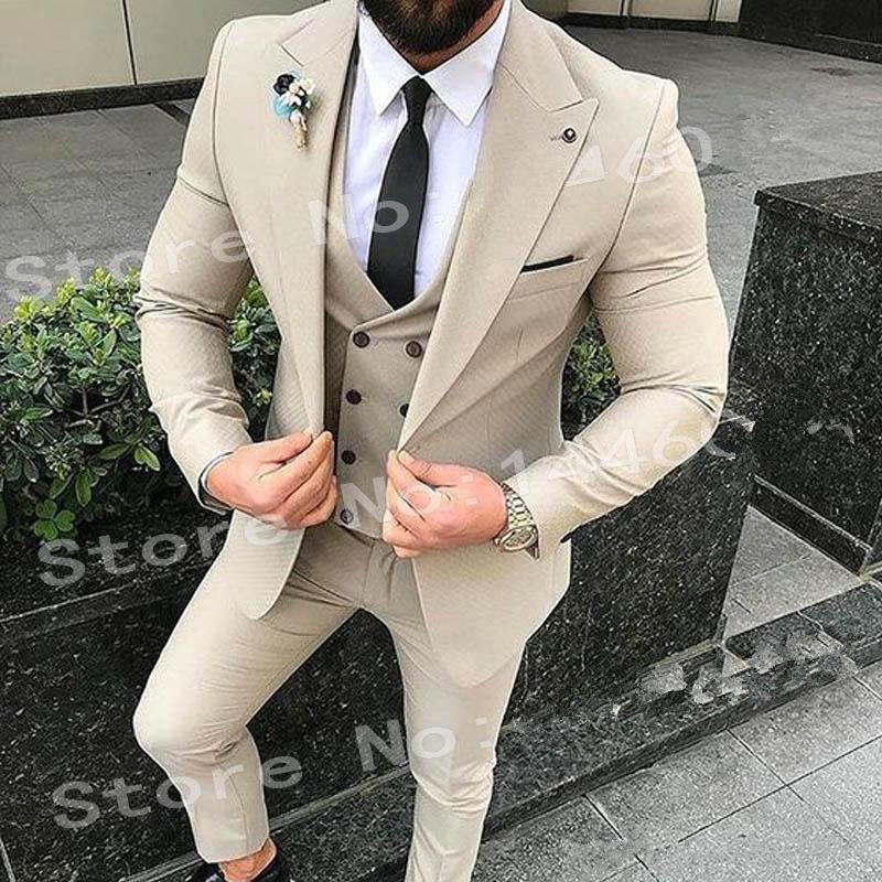 New One Button Beige Groomsmen Spitze Revers Bräutigam Smoking 3 Stück Männer Anzüge Hochzeit / Prom Bester Mann Blazer (Jacket + Pants + Vest + Tie) 471