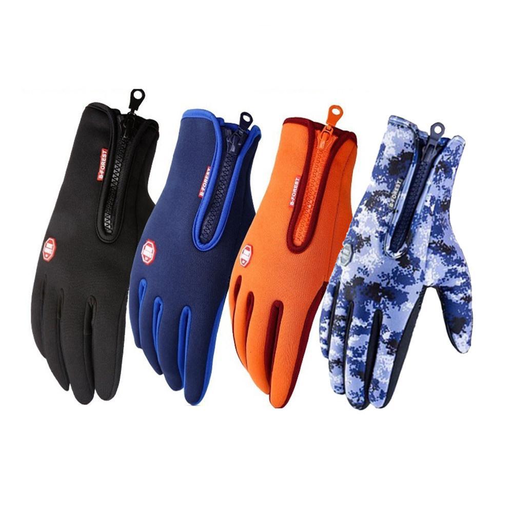 PU cuero del tacto guantes de la pantalla camuflaje guantes calientes mujeres de los hombres al aire libre caballo Senderismo Esquí Guante con las manoplas de lana de revestimiento