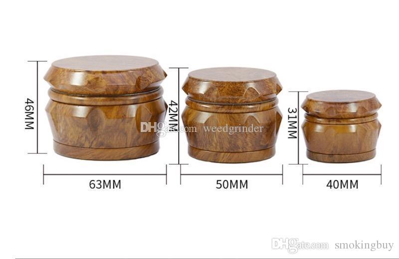 El más reciente 40mm 50mm 63mm concove madera molinillo de tabaco de alta calidad del diamante fumar molinillo de hierba con el diente de metal CNC