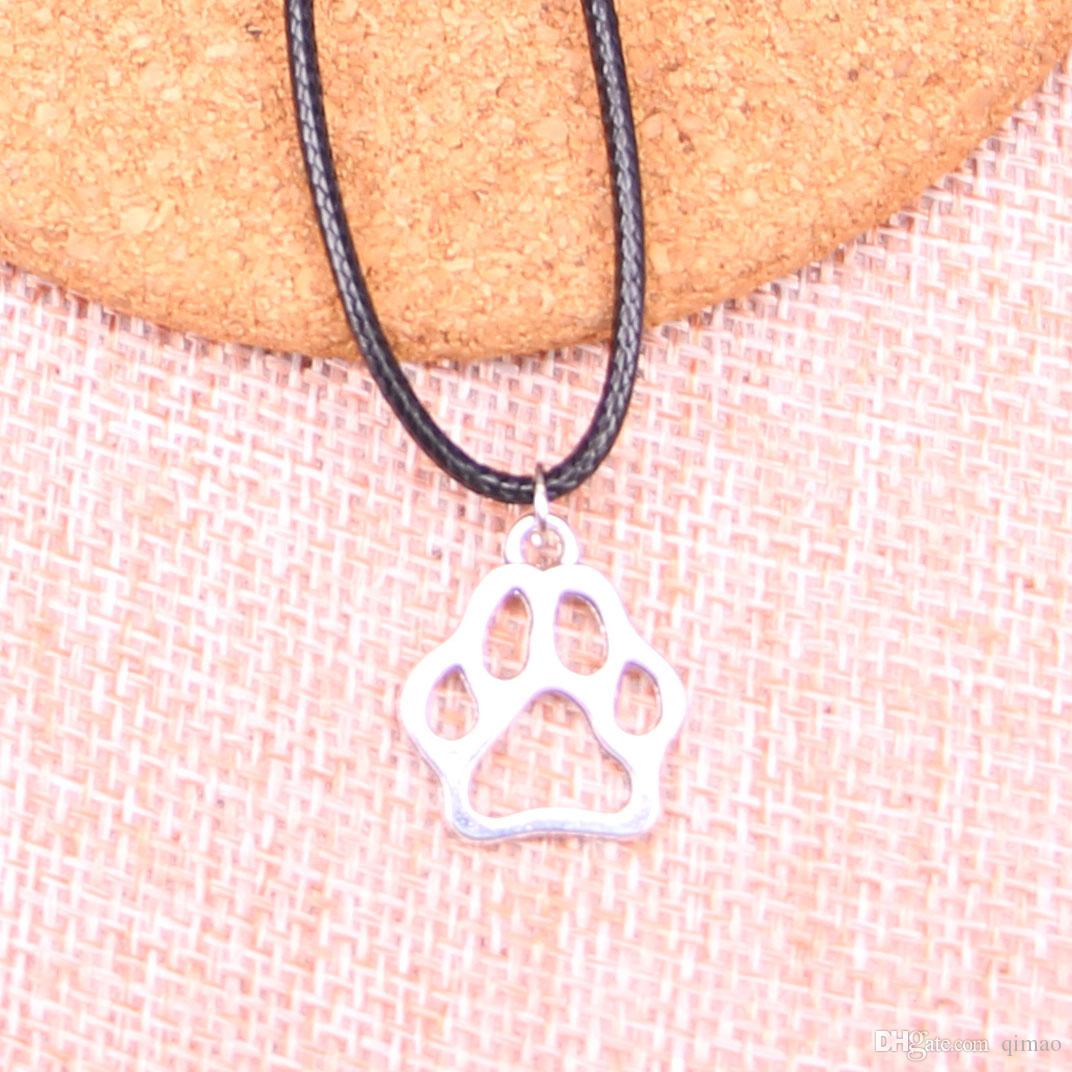 New Durable Black Faux Leather Antique Silver 19*17mm dog bear paw Pendant Leather Chain Necklace Vintage Jewelry Dropshipping