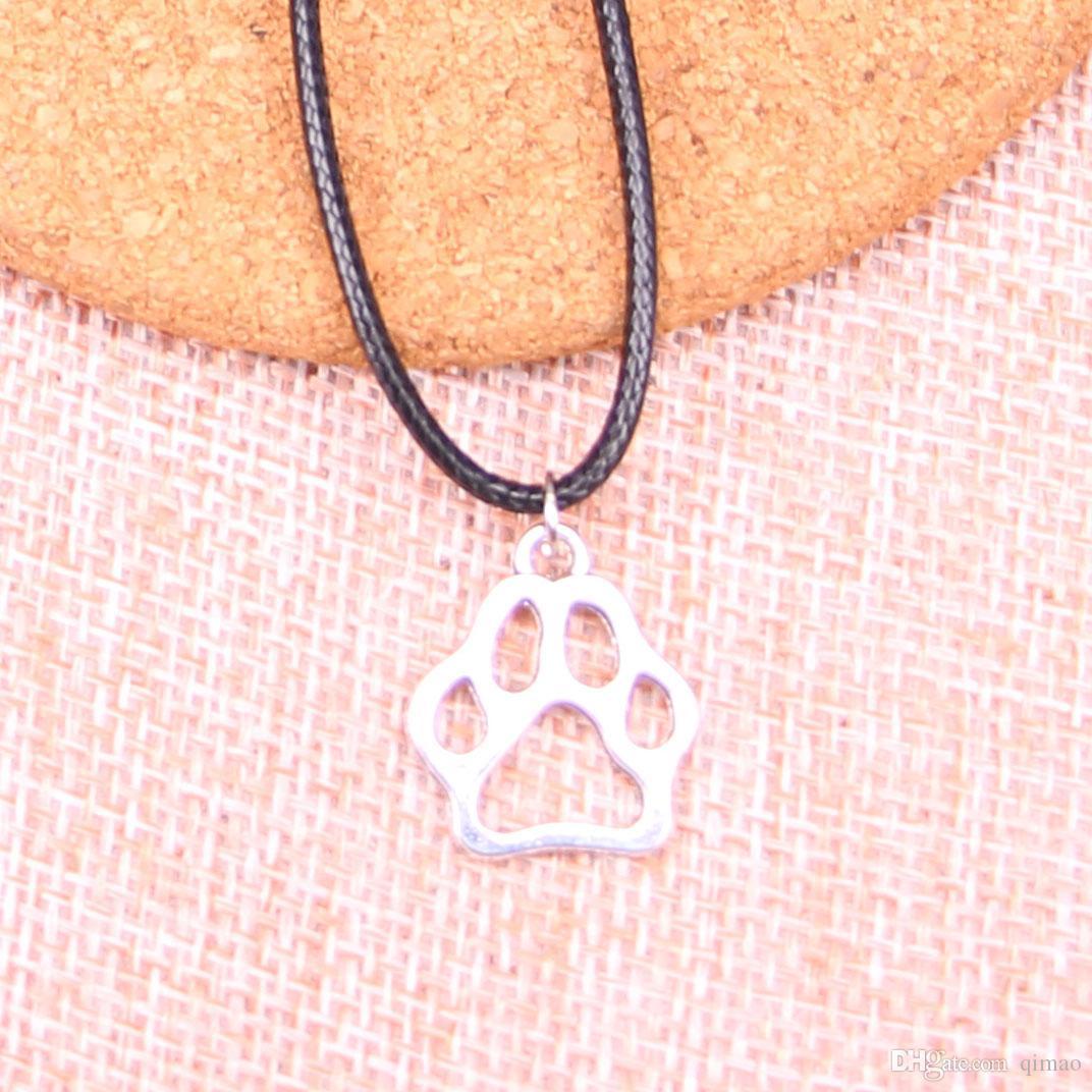 Nuevo Durable Negro de Cuero de Imitación de Plata Antigua 19 * 17mm pata de oso de perro Collar de Cadena de Cuero Colgante Joyería de La Vendimia Dropshipping