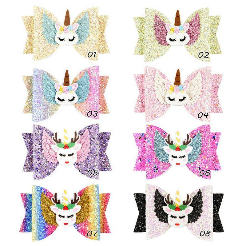 3,5 pouces Barrettes Unicorn Wing Accessoires de cheveux pour les filles enfants Barrettes multi-couche Glitter cuir Bows cheveux main épingles à cheveux
