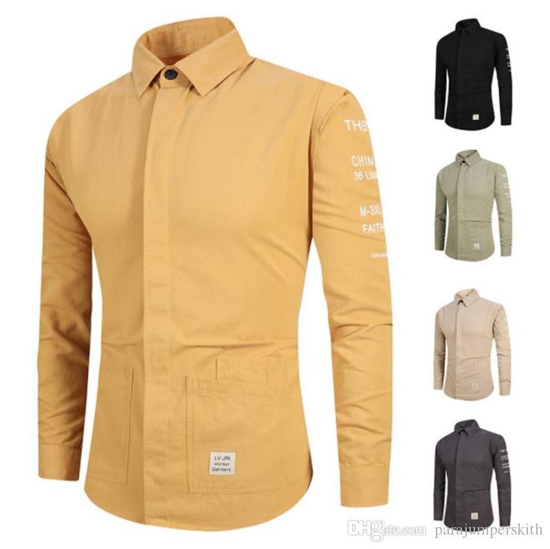 Printed Mens Casual Shirts Langarm Revers Ausschnitt Cardigan Männer Shirts beschriften das gedruckte Male Shirts Mode-Männer Tops
