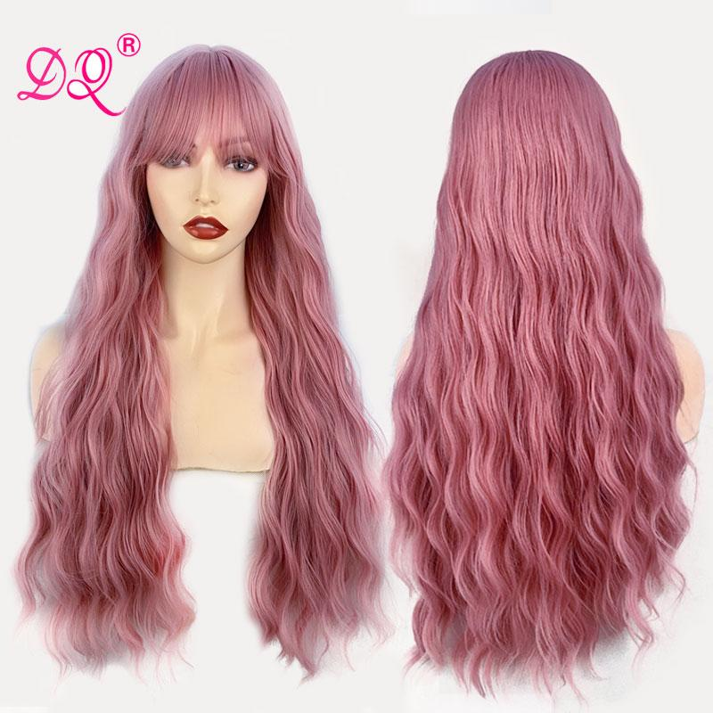 DQ Long Wave perucas com franja Nature Kinky peruca sintética calor fibra resistente da Mulher Negra Cosplay Mix-de-rosa Brown Grey Fuchsia