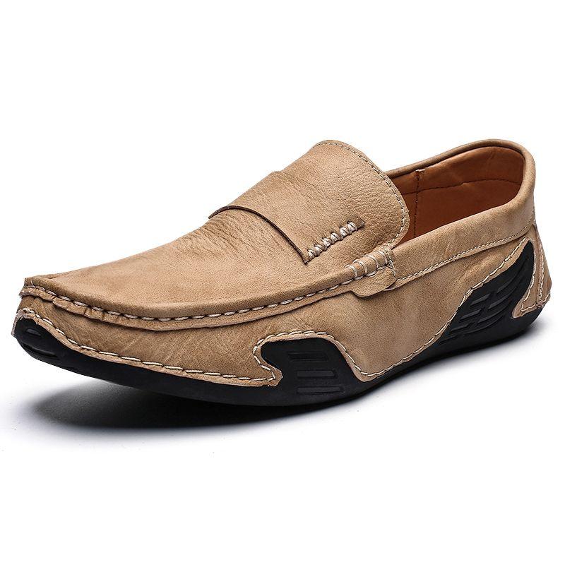 2020 جديدة أحذية رجالية جلدية عادية عالية الجودة متعطل تنفس الأخفاف الخفيفة الأزياء والأحذية الرجال المطاط وحيد القيادة الأحذية