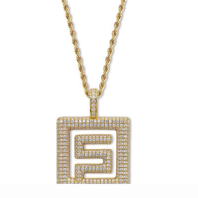 Berühmte amerikanische Hip-Hop-Rap-Kombination migos Same Absatz Symbol Halskette mit Zirkon Anhänger Persönlichkeit unisex Halskette Großhandel