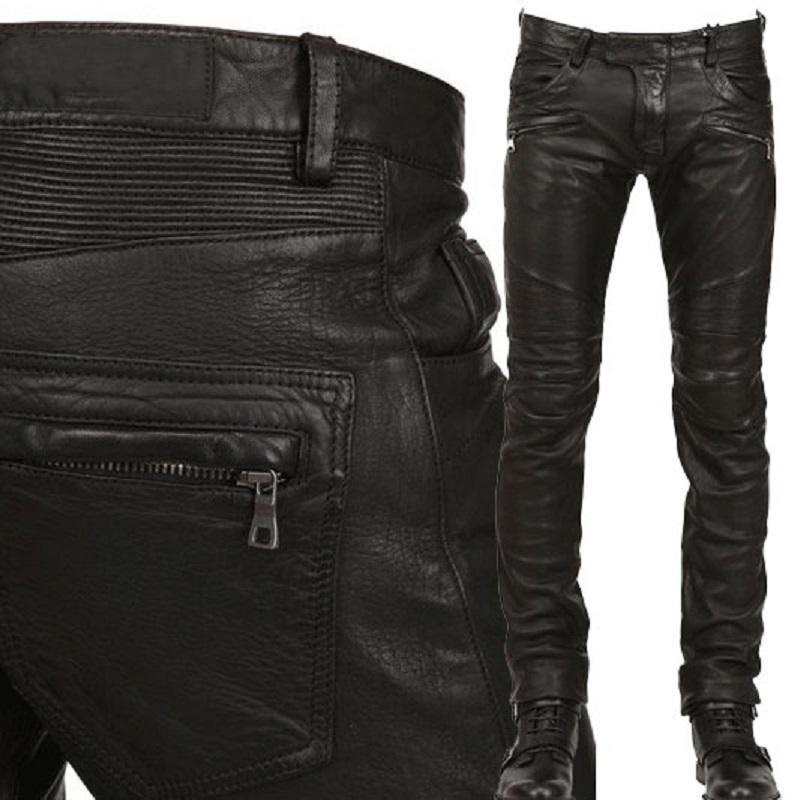 Lederhose Männer Motorrad-Schwarz-Herren-Hosen Art und Weise PU-Leder-Reitwasserdichte Motor Biker Male Straße Pants Plus Size