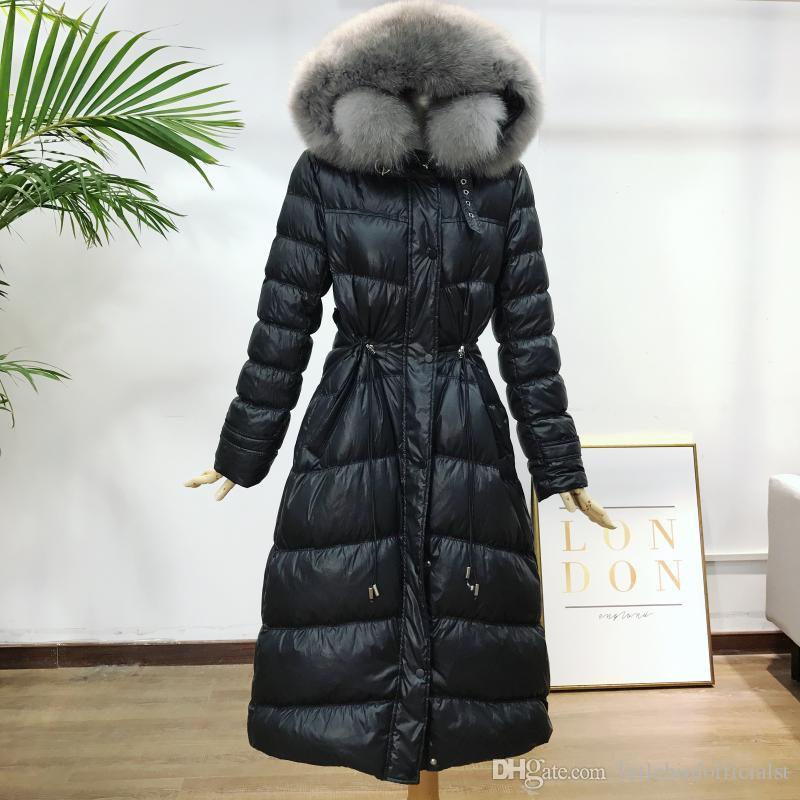 Inverno Cappotto Donne lungo Big Fur Collar Slim Moda Anatra bianca Down Jacket modelli nuova esplosione parka soprabito