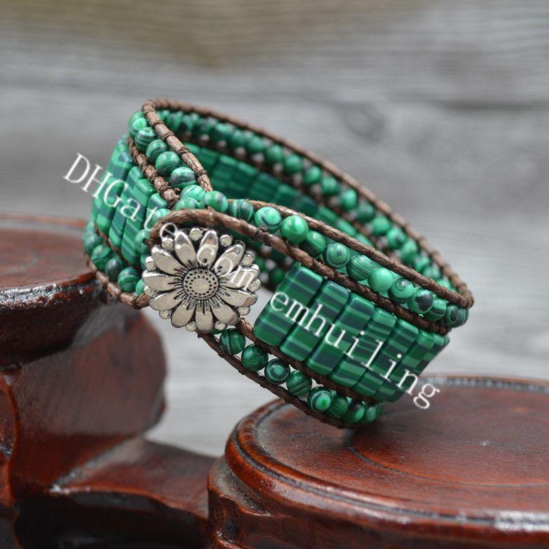 10pcs Handmade Vintage Round and Tube Shape Synthetic Crystal Green Malachite Stone Beaded Wax Leather Wrap Romantic Bracelet for Men Women