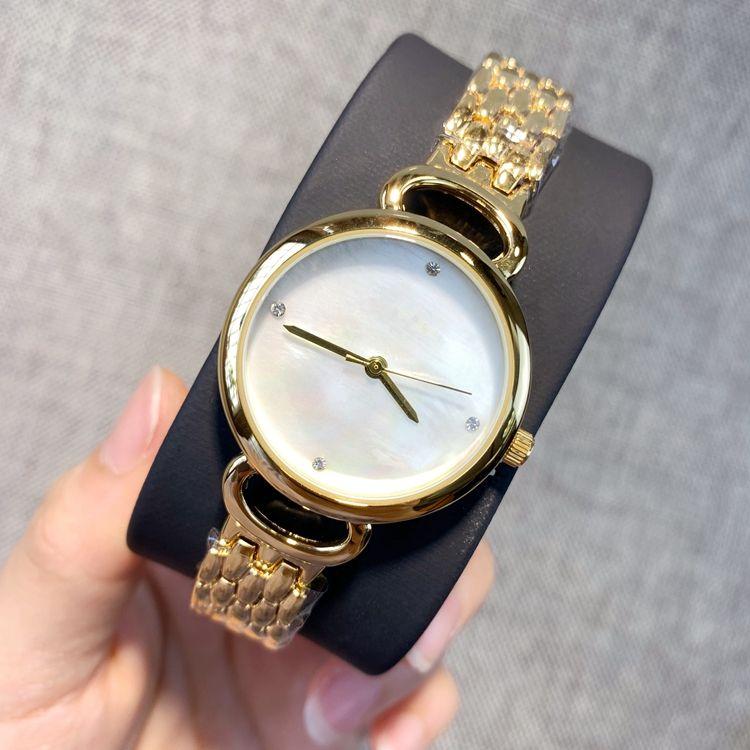 2019 yeni stil lüks Lady saat Gümüş Paslanmaz Çelik Saatler kabuk kadranı moda saatler Bayan altın rengi İzle dropshipping Saatler