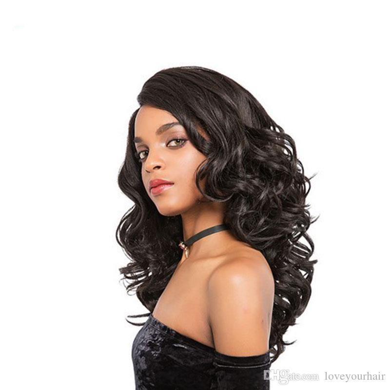 qualidade superior quente brasileiro do cabelo Africano Ameri solta onda peruca de cabelo Simulação Humano longa onda peruca completa em estoque