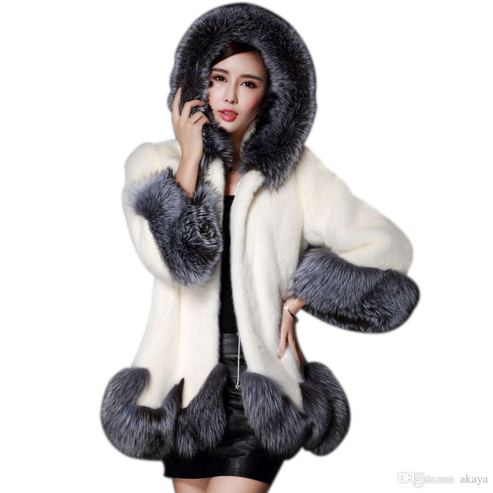 New Plus Size Woman Faux Fur Coat Winter Warm Thick Fur Jacket 6XL Outwears Hoody White Fake Fur Overcoat Woman