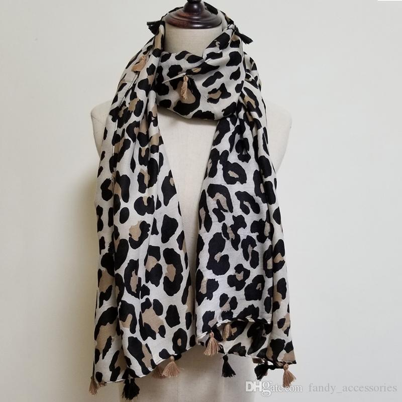 Women Leopard Printed Scarf Large Size Muslim Hijab Ladies Scarves with Tassels 4 Colours Fashion Scarf