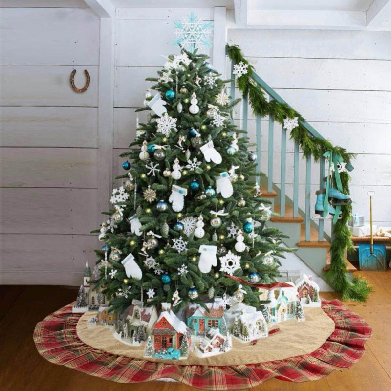 2019 Weihnachtsbaum Rock Lattice Design-Weihnachtsbaum Schürze Feiertags-Dekorationen