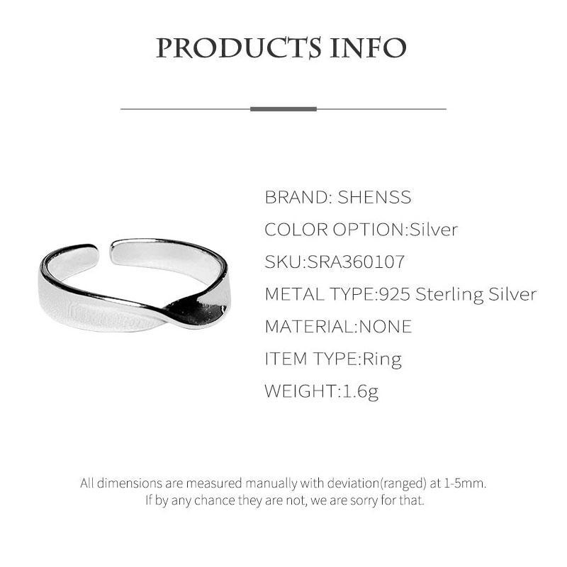 Elegante Qualidade 925 Anéis de casamento Ins Moda Simples ajustável anel 925 Sterling Silver Ring por Mulheres