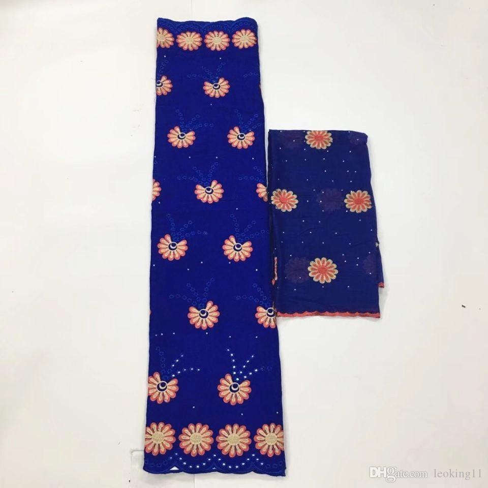 5Yards Hot sale royal blue african cotton fabric with flower embroidery and 2Yards french net lace set for dress HS20-5
