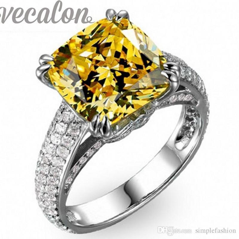 Vecalon Подушка вырезать 8ct Топаз Cz кольцо с бриллиантом обручальное обручальное кольцо для женщин 925 стерлингового серебра Женский палец кольцо