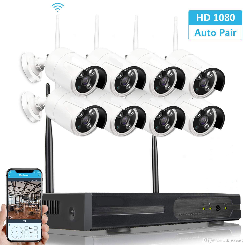 jeu 8 canaux 1080P système de surveillance CCTV WiFi NVR, 8ch 1080P kits Caméras de sécurité