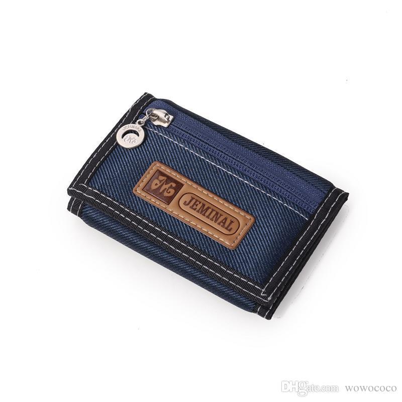 Oxford Kumaş Tuval Erkekler Cüzdan Trifold Öğrenci Boş Cüzdanlar Organizatör Çanta Çok fonksiyonlu Kısa cüzdan 12 * 8 * 2CM X501