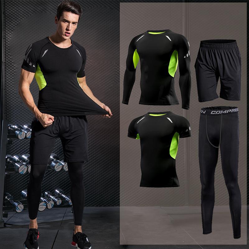 Hombres de compresión Ropa de deporte Running juego de los deportes de baloncesto guardia Tight ropa de la aptitud serie de entrenamiento jogging chándales Rash