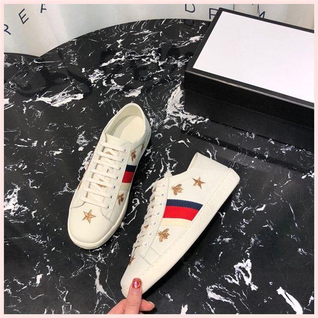 gucci 2019 Italien Markenentwerfer Männer Frauen weißen Schuhe Trend sport beiläufige Stickerei authentische Liebe Biene Paar weißen Schuhe Gezeiten a17