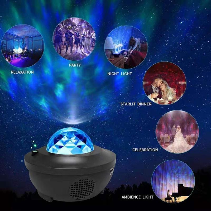 Galaxy Star Lâmpada de Projeção Colorido Starry Sky Projetor Controle de Voz Luz Bluetooth LED Speaker Night Light Presentes Christmas Sala