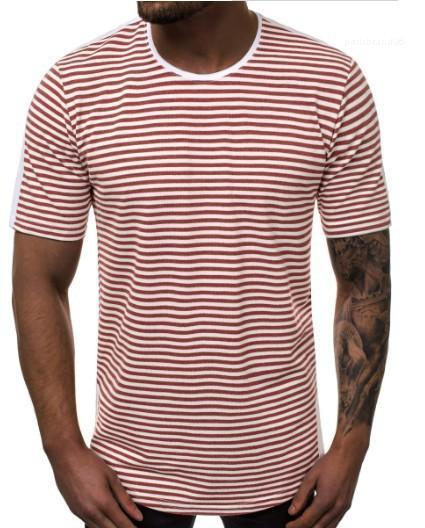 Casual Tshirt Summer Short Sleeve Round Neck Loose Fashion Designer Male Top Mens Striped Gradient