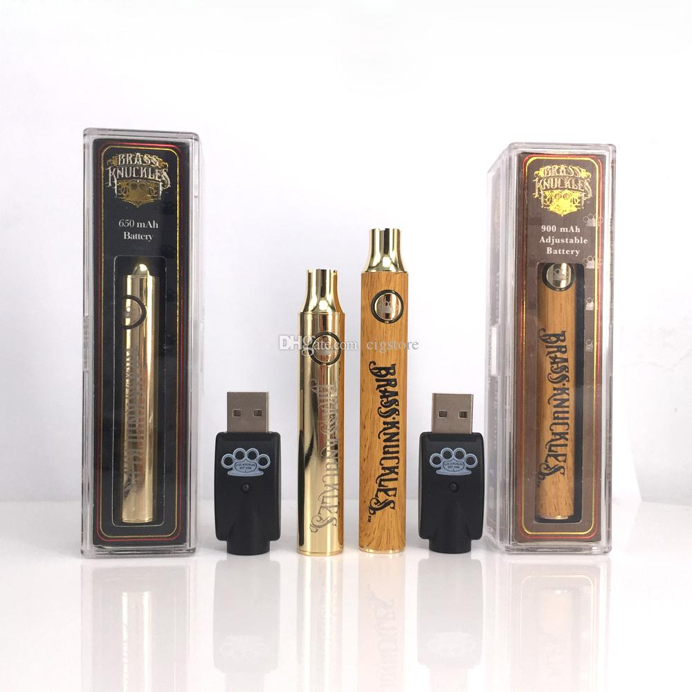 Brass Knuckles Vape Battery 650mah 900mah Variable Voltage Preheat E Cigarette Battery Pen For 510 Thread Thick Oil Cartridge Kingpen Tank Battery Mod