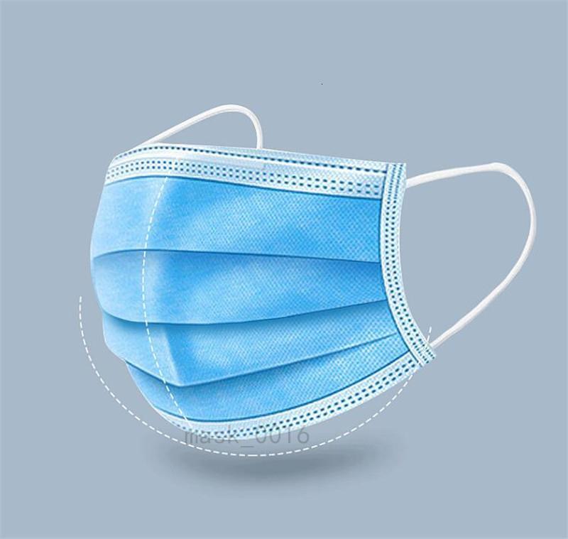 Trasporto veloce Inquinamento Safety Filter Mascherine polvere usa e getta Bocca blu Ear Loop tessuto non tessuto maschera di protezione 50Pcs Bag JRZV
