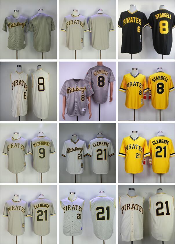 도매 남성 저지 8 윌리 스타 젤 (9) 빌 마 제로 스키 # 21 클레멘테 검정 노랑 회색 흰색 야구 유니폼