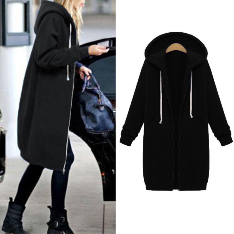 겨울 코트 여성 두껍게 긴 지퍼 느슨한 재킷 하라주쿠 후드 포켓 졸라 셔츠 Manteau 팜므 Ez *