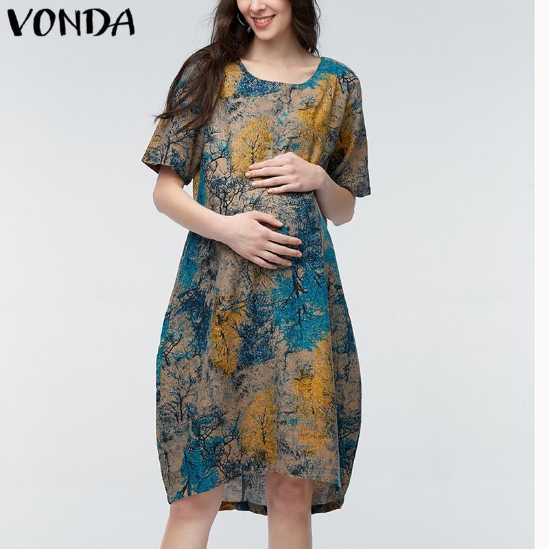 Vonda 2020 Yaz Kadın Vintage Çiçek hamile elbisesi Casual Gevşek Kısa Kollu Hamile Anne Giyim Artı boyutu M-5XL yazdır