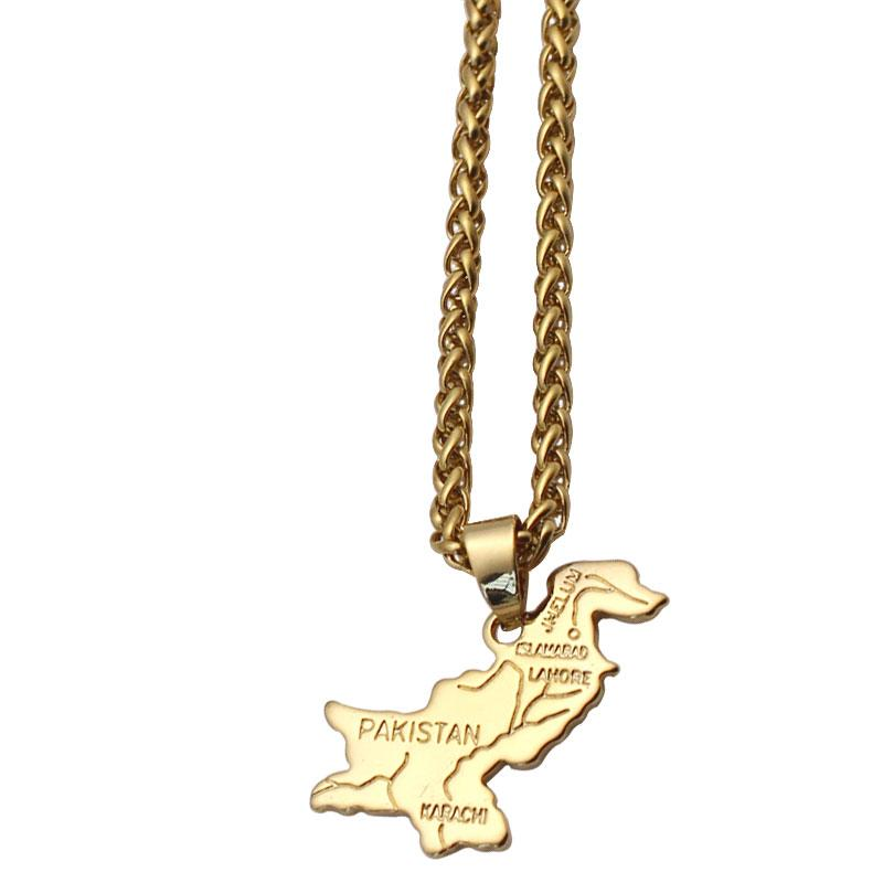Pakistan stainless steel copper pendant necklace , country map jewelry accept drop shipping