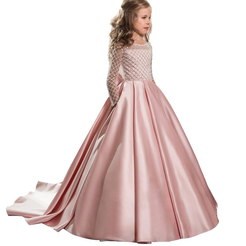 New 2019 Summer Bridesmaid Long Sleeve Princess Dress Elegant Costume Kids Dresses For Girls Children Party Wedding Dress LP-204