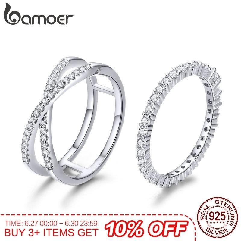 Bamoer 2 pcs Authentic 925 Sterling Silver Dazzling Cz Geométrica Anéis de Dedo Para As Mulheres Do Noivado Do Casamento Jóias Anel Scr463 J190627