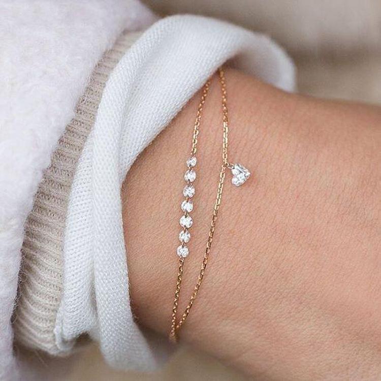 Braccialetto di cristallo del doppio cuore di modo squisito del braccialetto della femmina del fidanzamento della femmina del fidanzamento femminile dei monili del designer di lusso delle donne dell'argento sterling di lusso