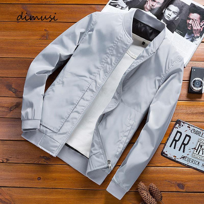 Bombardero de la cremallera de la chaqueta de moda masculina Streetwear Hip Hop de los hombres DIMUSI Slim Fit piloto abrigos hombres Outwear béisbol chaquetas Ropa T200502