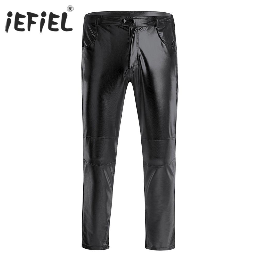 Hombre masculino halloween traje pantalones femeninos cuero skinny moto ciclista apretado pantalones noche sexy clubwear legging largo pantalones